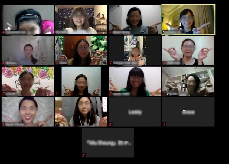 "Female participants joined the first Glocal Y ""Friday Chat"" online programme."
